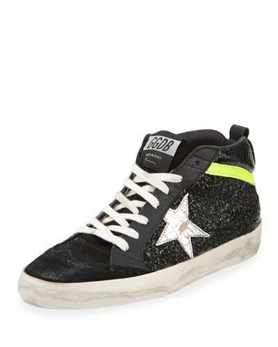 Mid Star Suede & Glitter Sneakers