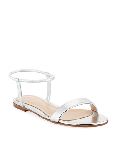 Flat Metallic Leather Ankle-Wrap Sandals
