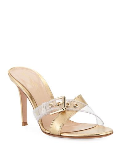 Crisscross Plexi Slide Sandals
