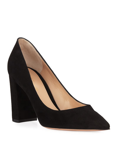 375d87bfa01f Quick Look. Gianvito Rossi · Suede Pointed-Toe Pumps with Chunky Heel