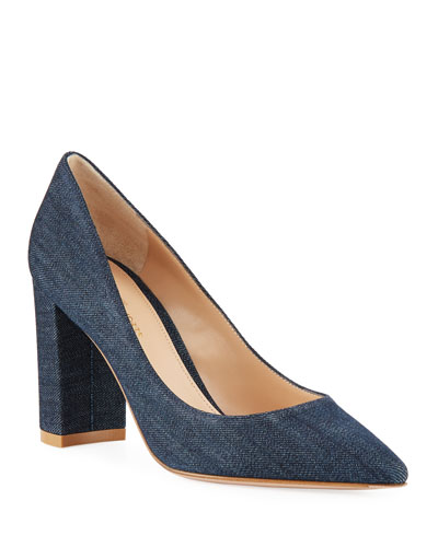 Denim Pointed-Toe Pumps with Chunky Heel