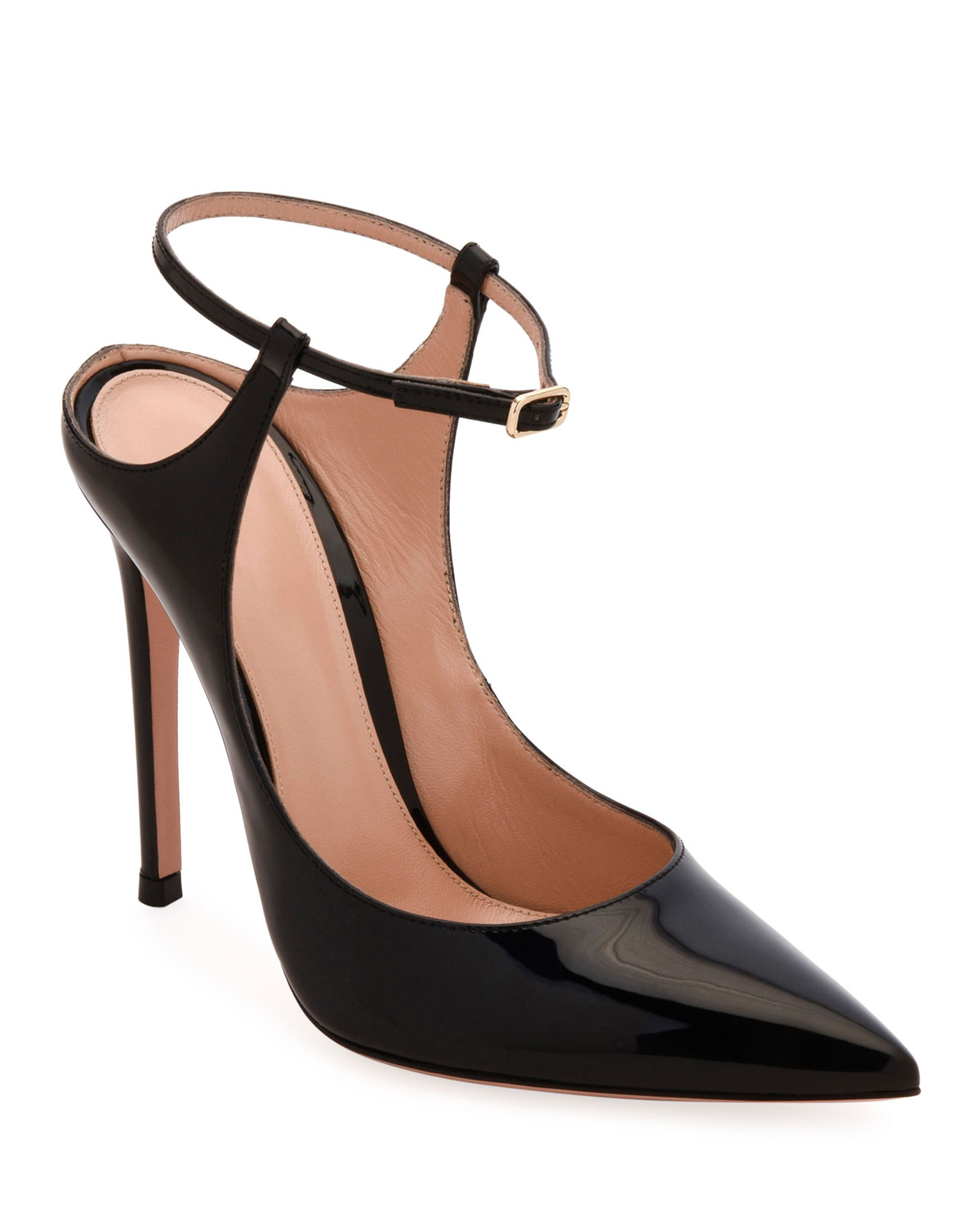 Pointed-Toe Ankle-Strap Pumps