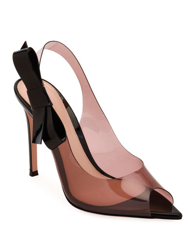 Peep-Toe Plexi Slingback Pumps with Bow