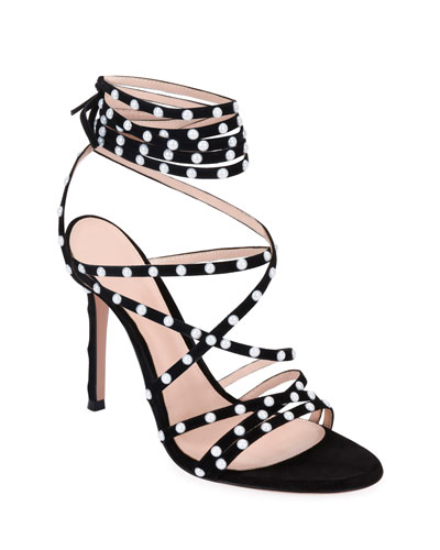 Strappy Suede Sandals with Pearly Details