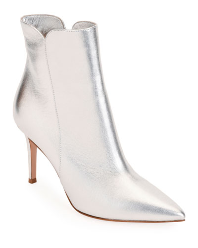 85mm Metallic Leather Booties