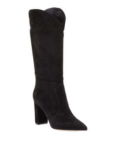 Suede Western Knee Boots