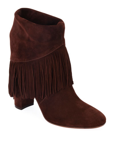 Suede Fringe Pull-On Booties