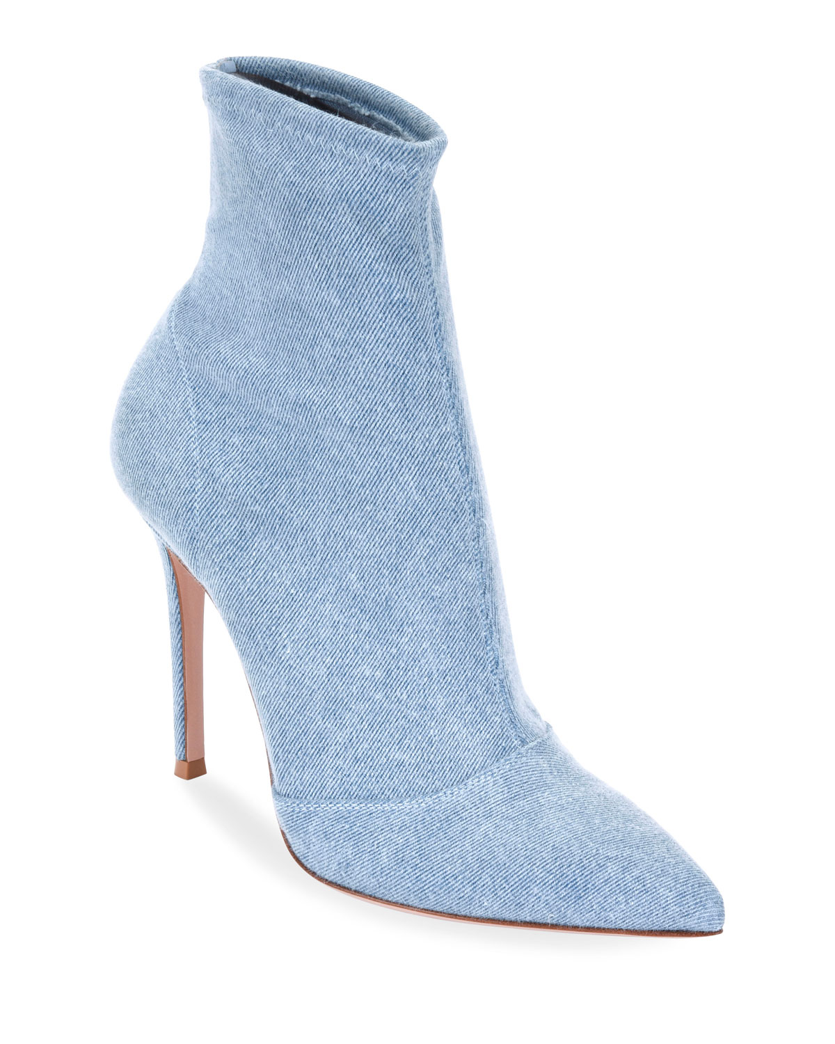 Denim Stretch 105Mm Booties in Blue