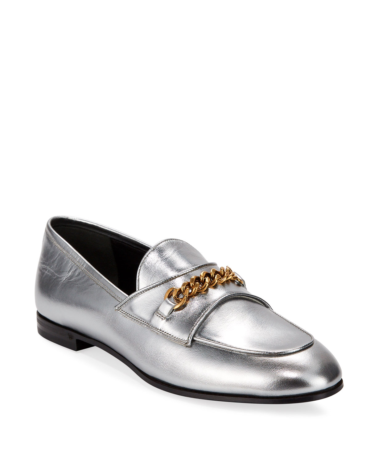 Metallic Loafers with Chain Detail