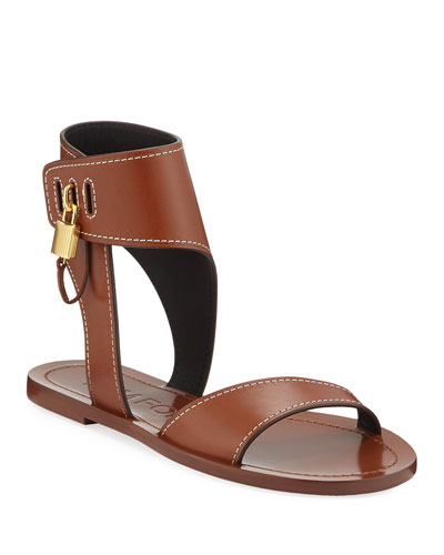 Flat Leather Sandals with Padlock