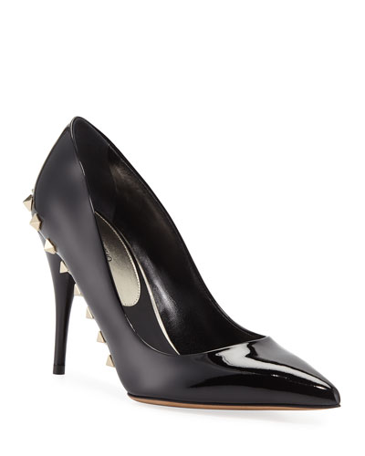 Jaw-Studs Point-Toe Patent Leather Pumps with Studded Sole