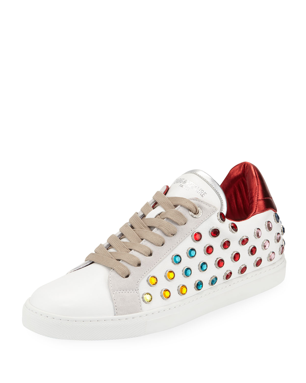 Leather And Strass Hidden-Wedge Low-Top Sneakers in White