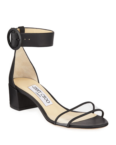 Jaimie Leather and PVC Block-Heel Sandals