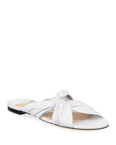 Lela Flat Napa Leather Slide Sandals