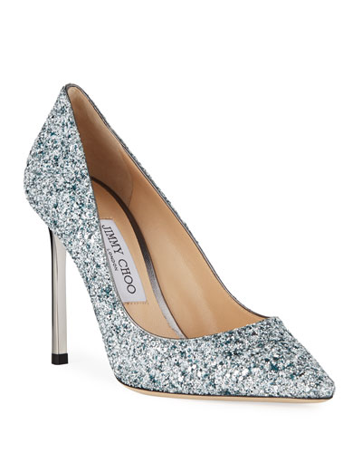 Romy 100mm Painted Coarse Glitter Fabric Pointed-Toe Pumps