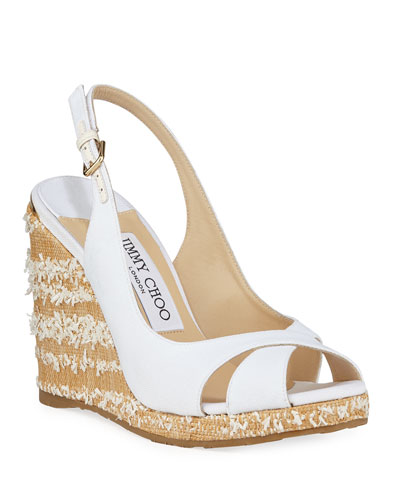 c245df989046 Quick Look. Jimmy Choo · Amely Canvas Platform Wedge Sandals