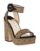 Jimmy Choo Aimee Raffia Platform Sandals