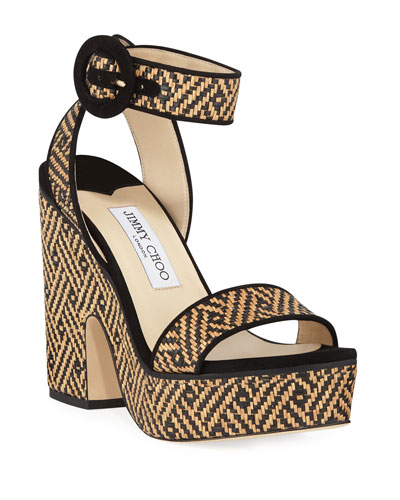 67b96b72a812 Quick Look. Jimmy Choo · Aimee Raffia Platform Sandals