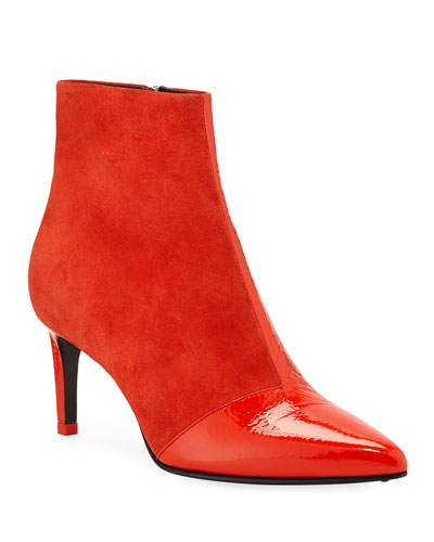 Beha Suede and Patent Leather Ankle Booties