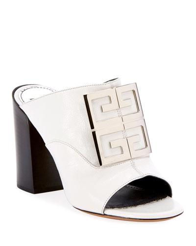 Leather 4G Logo 90mm Slide Sandals - Silvertone Hardware
