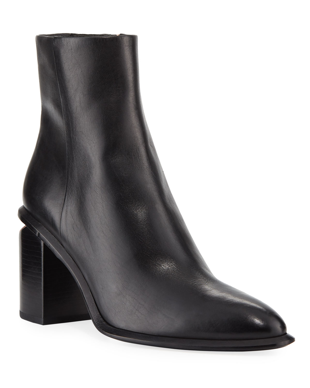 Anna Block-Heel Leather Booties - Rhodium-Tone Hardware in Black from FORZIERI