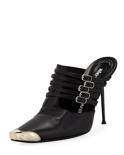 Minna Strappy High-Heel Metal-Toe Mules