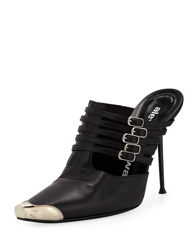 Minna Strappy High-Heel Metal-Toe Mules