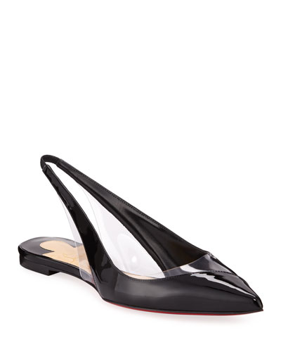 V Dec Patent Slingback Red Sole Ballet Flats