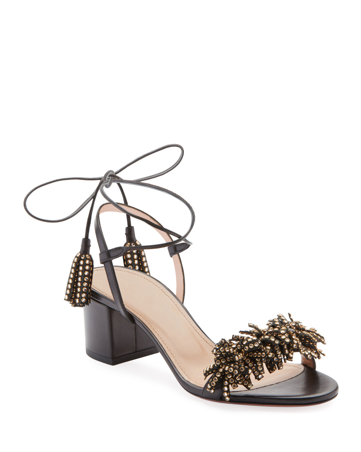 Wild Crystal Fringed Block Sandals in Black