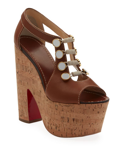 Ordonanette 160 Leather Platform Red Sole Sandals