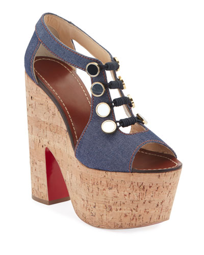 Ordonanette 160 Denim Platform Red Sole Sandals