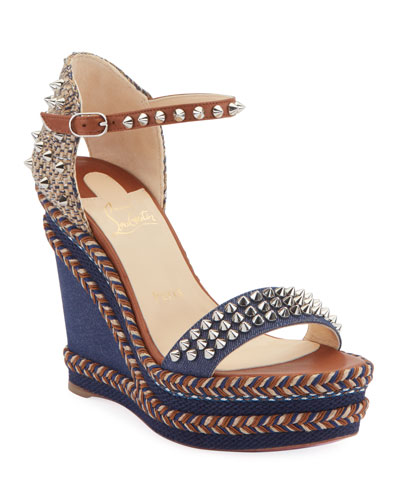 Madmonica 120mm Spiked Denim Wedge Red Sole Sandals