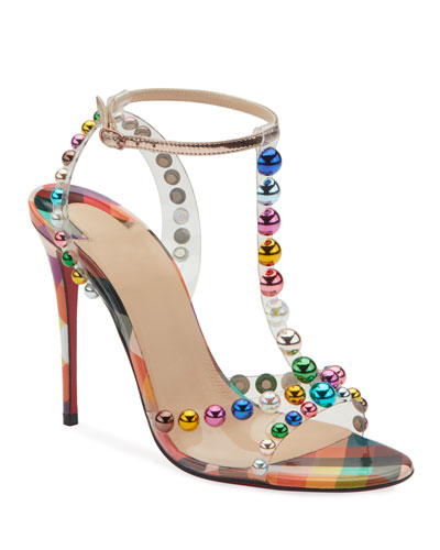Faridavavie See-Through Vinyl/Patent Red Sole T-Strap Sandals