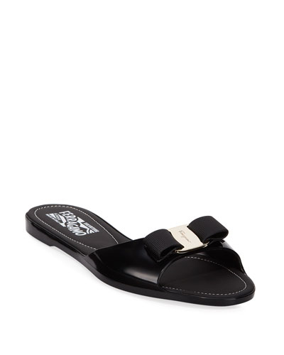 Cirella Flat PVC Jelly Bow Slide Sandals, Black
