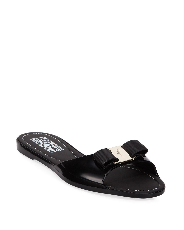 Cirella Flat PVC Jelly Bow Slide Sandals, Black