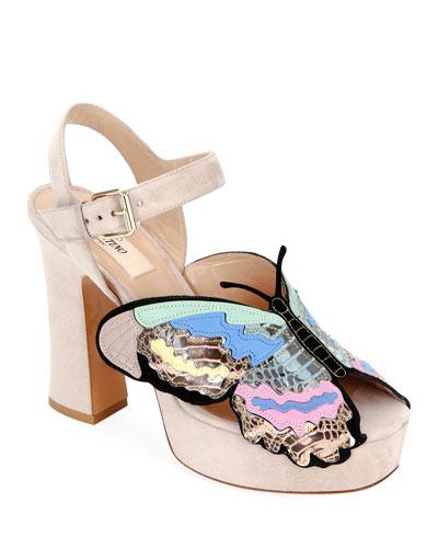 Suede Butterfly Platform Sandals
