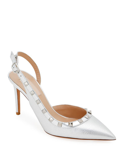 Metallic Rockstud Slingback Pumps