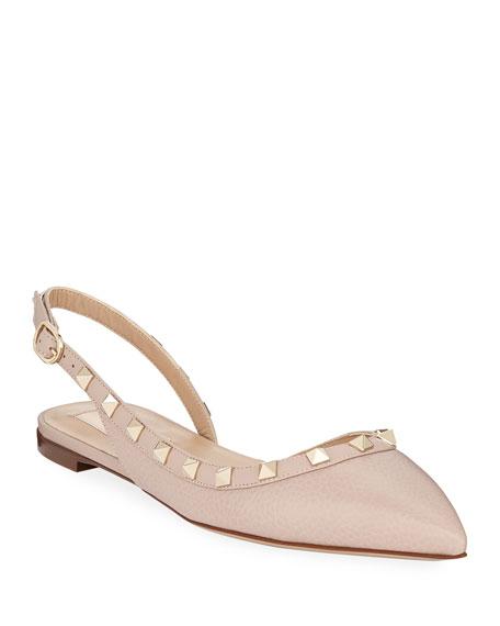 Valentino Garavani Rockstud Leather Slingback Ballet Flats