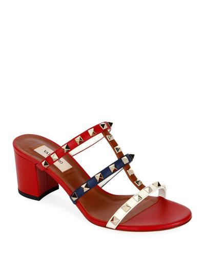Rockstud Caged 60mm Colorblock Slide Sandals