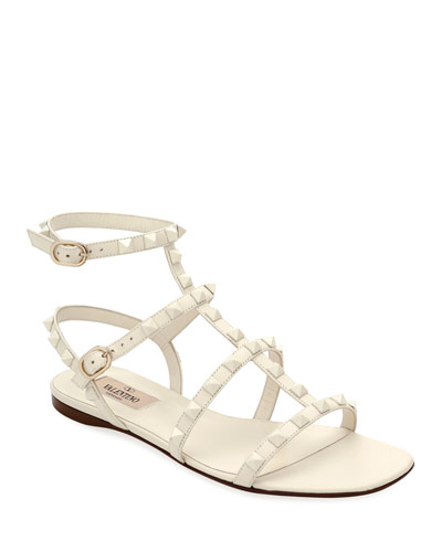 Rockstud Flat Strappy Leather Sandals (Tonal Hardware)