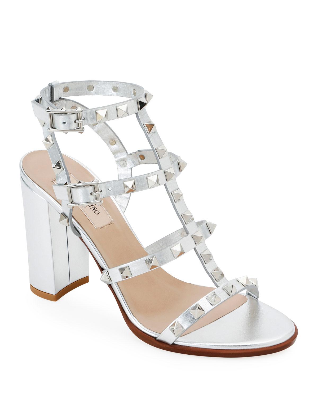 Rockstud Strappy Metallic Leather Block-Heel Sandals