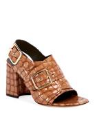 Dries Van Noten Shiny Alligator-Print Sandals