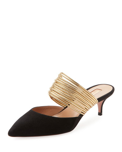 5a6bffebd65 Quick Look. Aquazzura · New Rendez Vous Strappy Kitten-Heel Mules.  Available in Black ...
