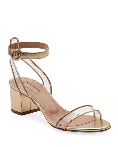 59ed45015a Quick Look. Aquazzura · Minimalist Metallic Block-Heel Sandals