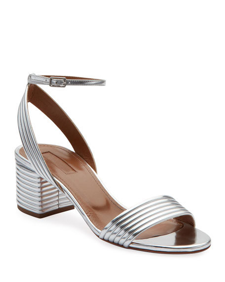 Aquazzura Sundance 50mm Metallic Leather Block-Heel Sandals