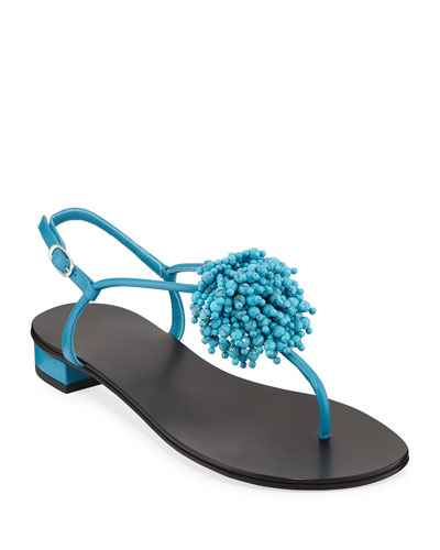 Leather Sandals with Fringed Beading