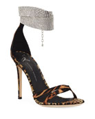 Giuseppe Zanotti Animal-Print Silk Sandals with Crystal Strap