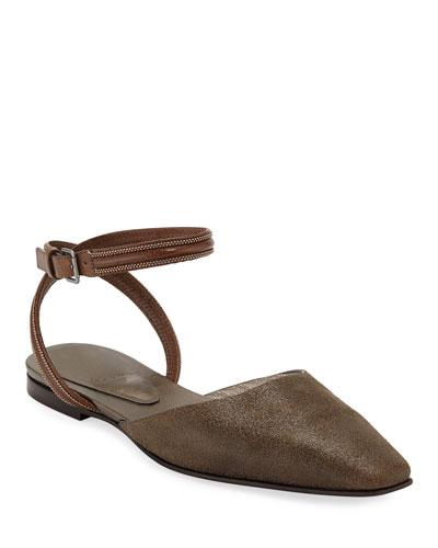Metallic Ankle-Wrap Mules