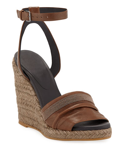 Leather Wedge Espadrille Sandals with Monili Toe