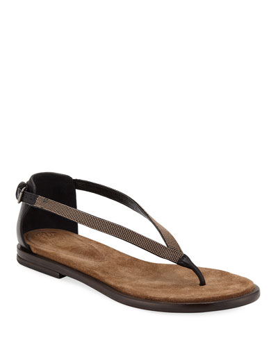 e914f3ab7c097 Quick Look. Brunello Cucinelli · Flat Monili Leather Thong Sandals